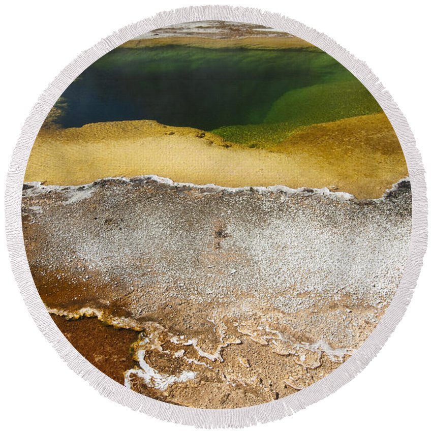 Yellowstone Round Beach Towel featuring the photograph Emerald Pool - Yellowstone National Park by Sandra Bronstein