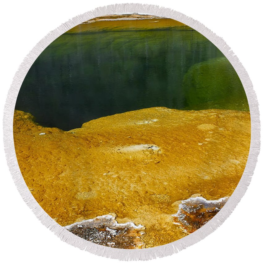 Hot Spring Round Beach Towel featuring the photograph Emerald Pool Yellowstone National Park by Teresa Zieba