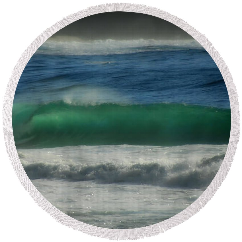 Sea Round Beach Towel featuring the photograph Emerald Sea by Donna Blackhall