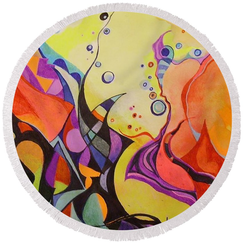 Watercolors Pens Paper Abstract Round Beach Towel featuring the painting Emergence by Wolfgang Schweizer