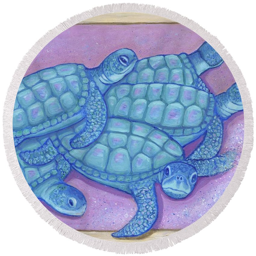 Turtles Round Beach Towel featuring the painting Emerging by Laura Zoellner