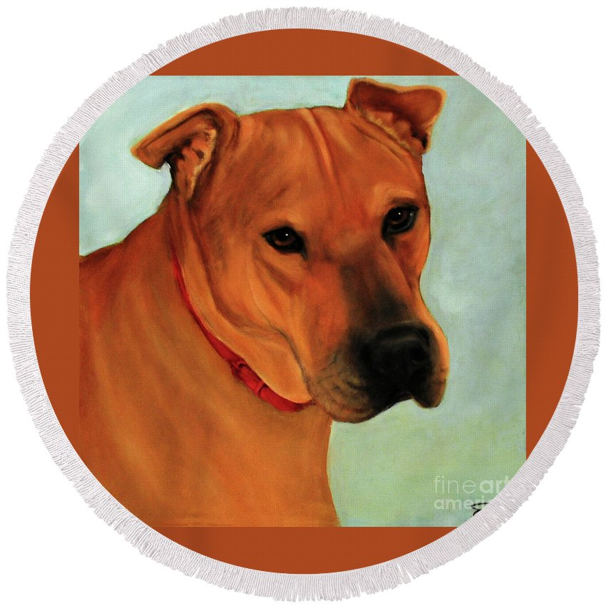 Emerson. Dog Round Beach Towel featuring the painting Emerson by Carolyn Shireman