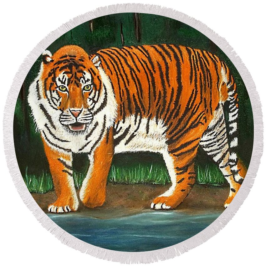 Tiger Round Beach Towel featuring the painting Eminence by Amy Pugh