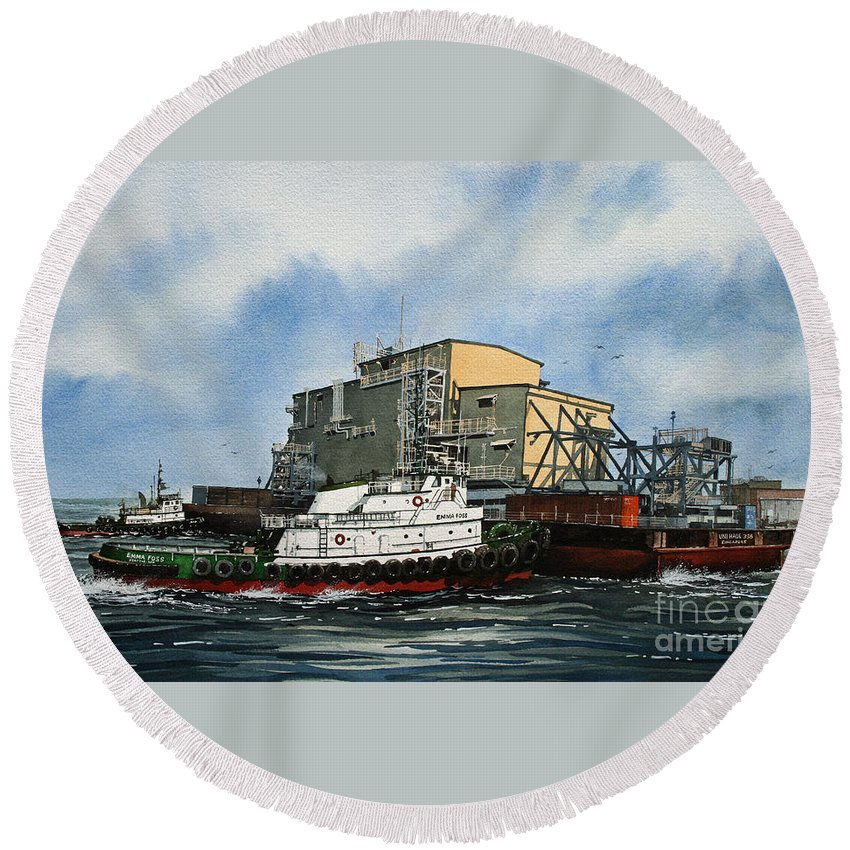 Tugs Round Beach Towel featuring the painting Emma Foss Barge Assist by James Williamson