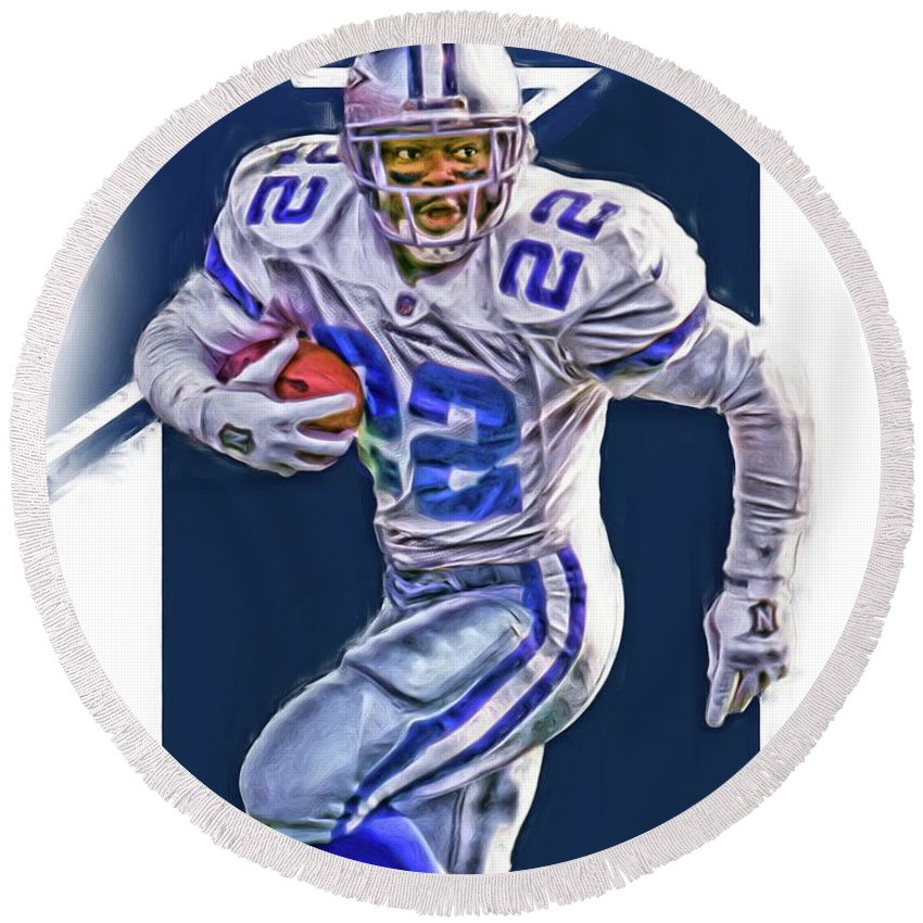 Emmitt Smith Round Beach Towel featuring the mixed media Emmitt Smith Dallas Cowboys Oil Art by Joe Hamilton