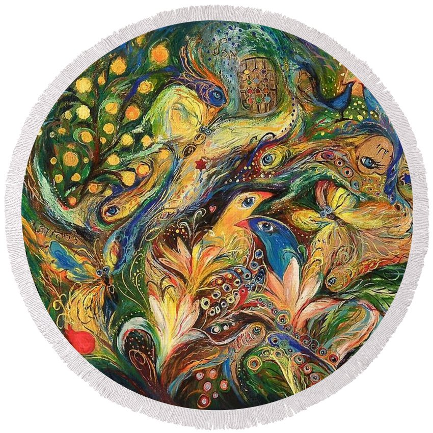 Original Round Beach Towel featuring the painting Emotion In Green by Elena Kotliarker