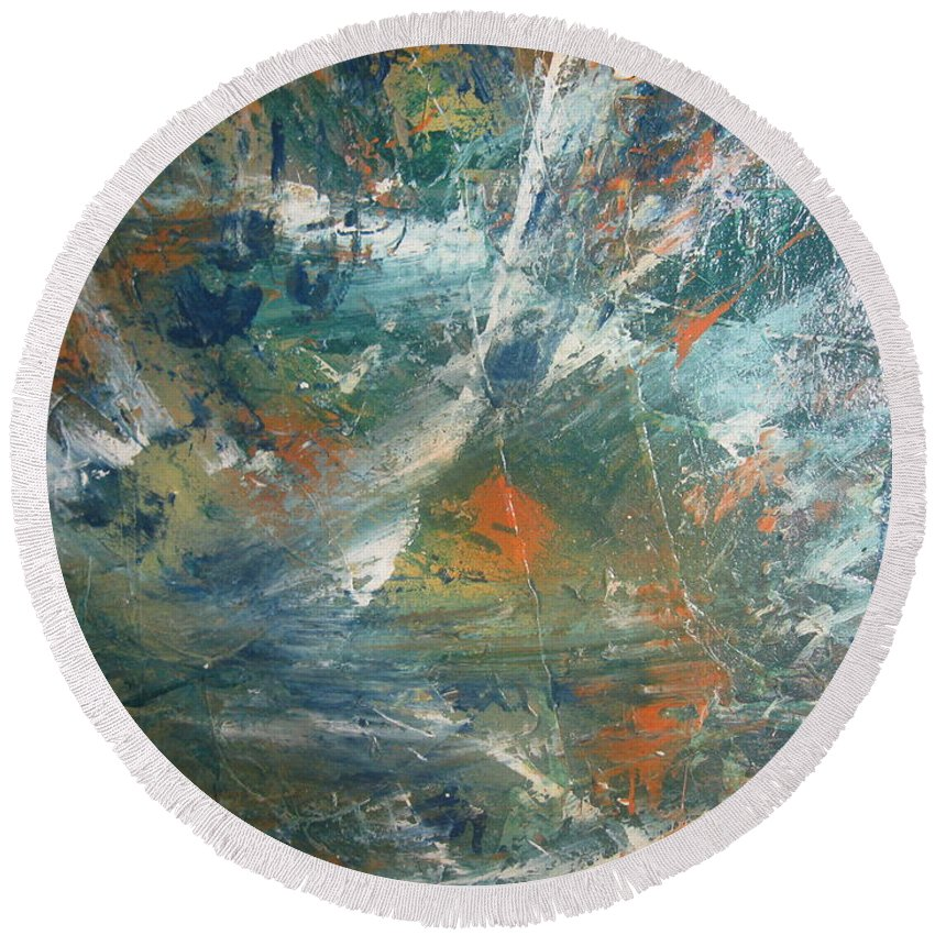 Non Duality Round Beach Towel featuring the painting Emotional Deluge by Paula Andrea Pyle