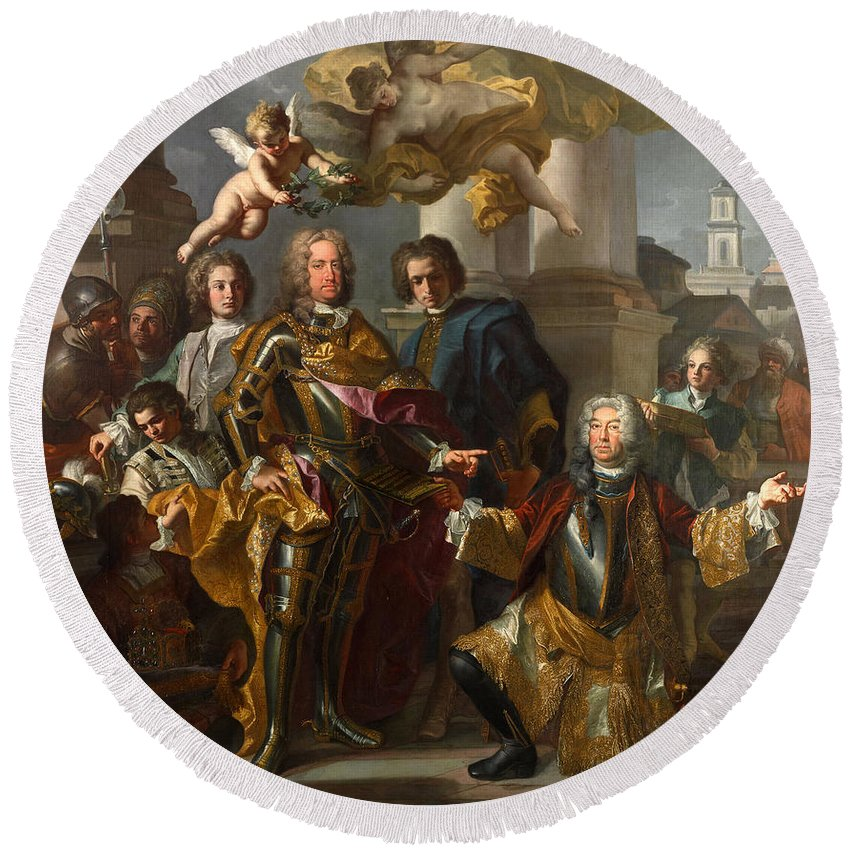 Francesco Solimena Round Beach Towel featuring the painting Emperor Charles Vi And Gundacker, Count Althann by Francesco Solimena