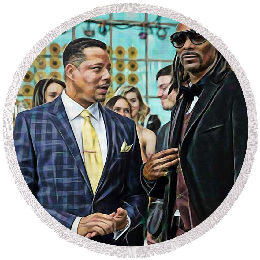 Terrence Howard Round Beach Towel featuring the mixed media Empire Lucious And Snoop Dog by Marvin Blaine