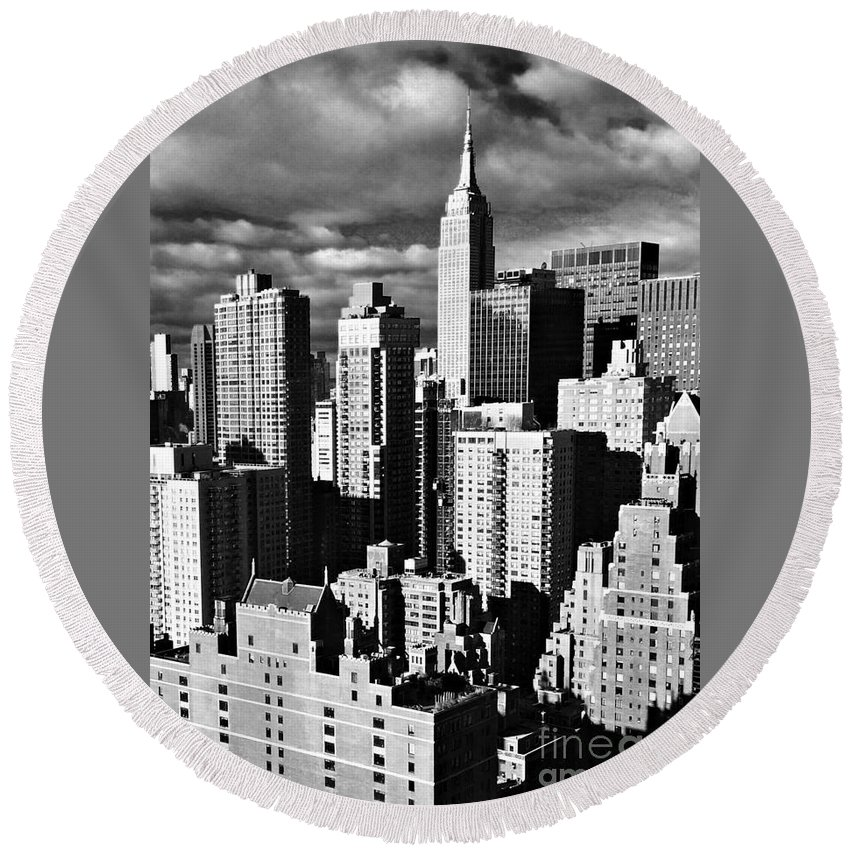 Empire State Building Round Beach Towel featuring the photograph Empire by Miriam Danar
