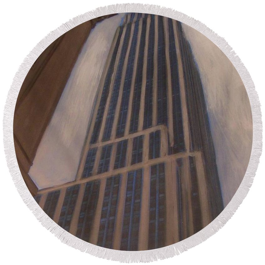 Empire State Building Round Beach Towel featuring the mixed media Empire State Building 1 by Anita Burgermeister