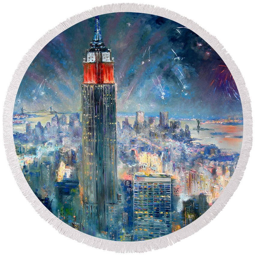 Empire State Building Round Beach Towel featuring the painting Empire State Building In 4th Of July by Ylli Haruni