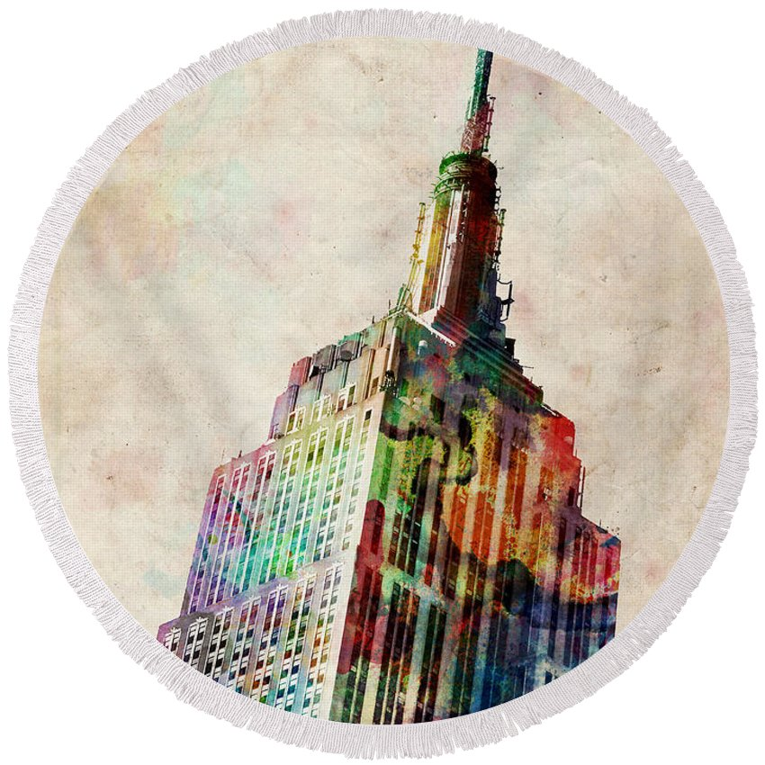 Empire State Building Round Beach Towels