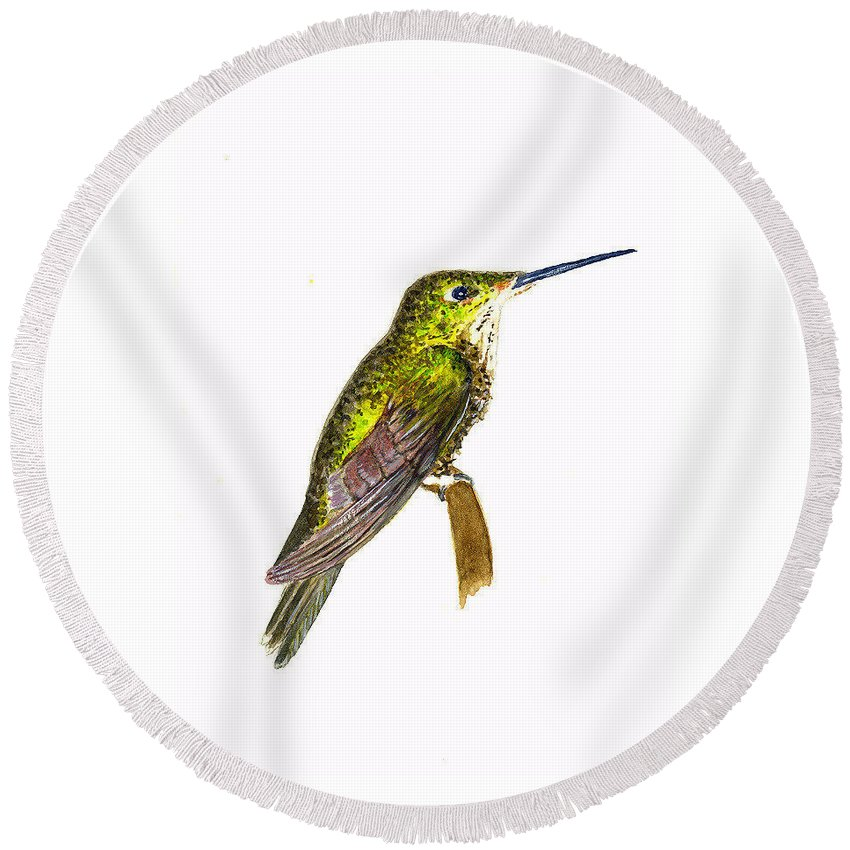 Birds Round Beach Towel featuring the painting Empress Hummingbird by Michael Vigliotti