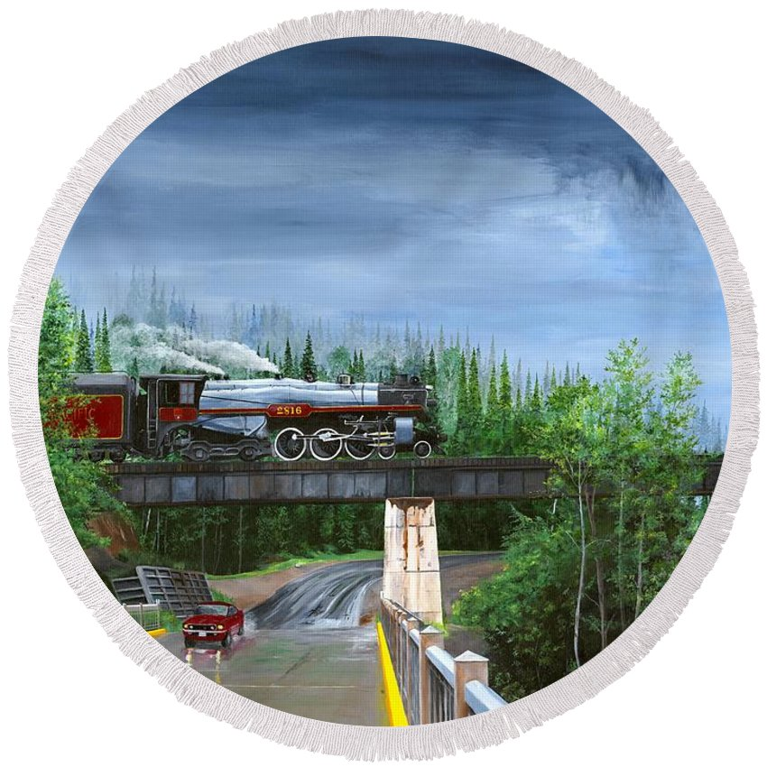 Bc 150 Train Round Beach Towel featuring the painting Empress In Southern Bc by Glen Frear
