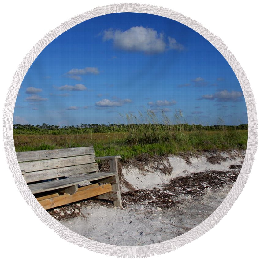 Landscape Round Beach Towel featuring the photograph Empty Bench by Barbara Bowen