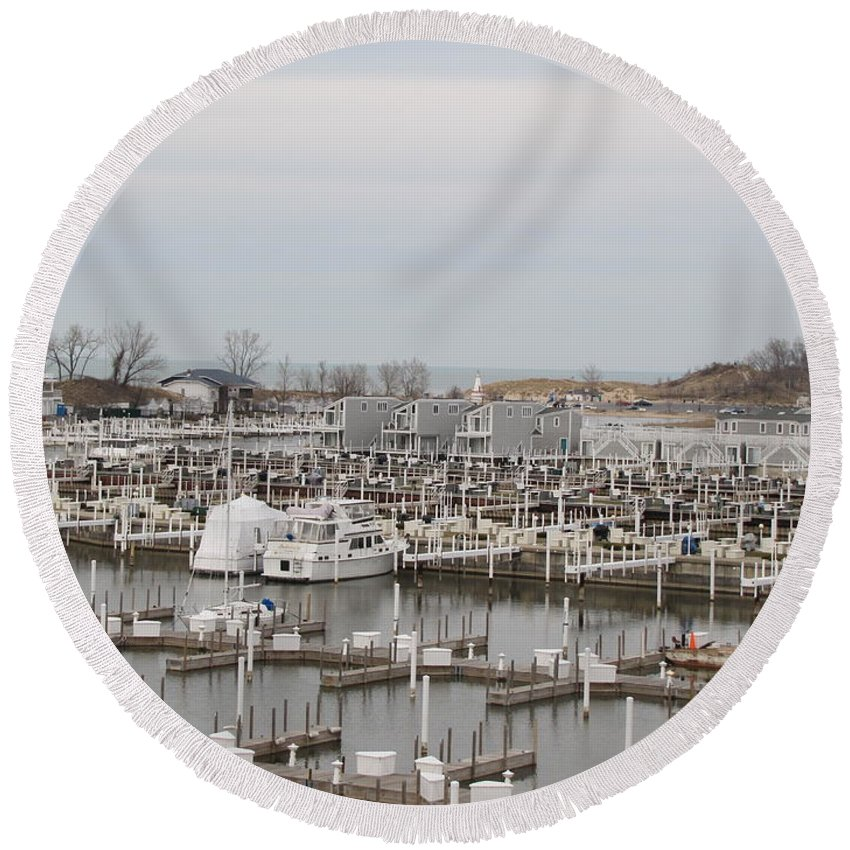 Empty Harbor Round Beach Towel featuring the photograph Empty Harbor by Michael TMAD Finney