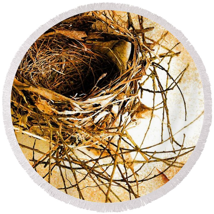Still Life Round Beach Towel featuring the photograph Empty Nest by Jan Amiss Photography