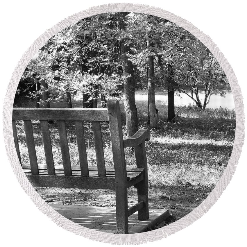 Photography Round Beach Towel featuring the photograph Empty Park Bench by Phil Perkins