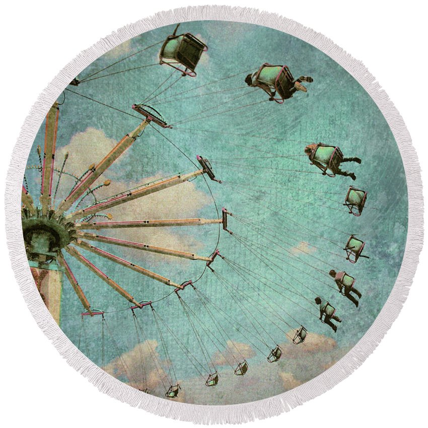 Texture Round Beach Towel featuring the photograph Empty Seats by Tara Turner