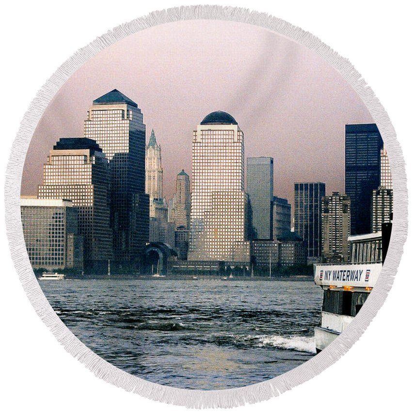 New York Round Beach Towel featuring the photograph Empty Sky by Steve Karol