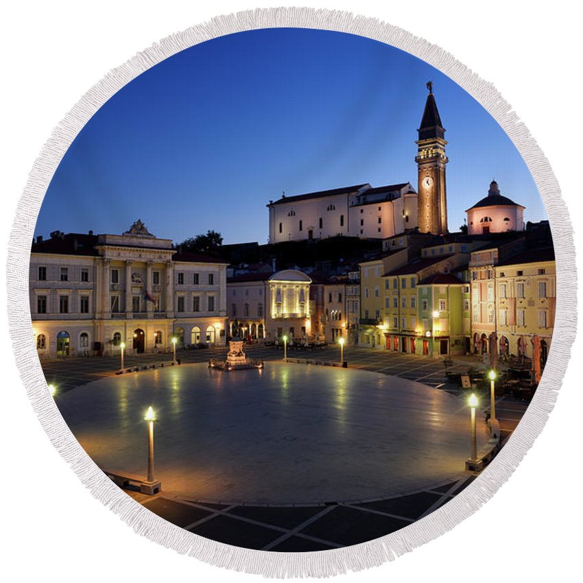 Empty Round Beach Towel featuring the photograph Empty Tartini Square In Piran Slovenia With Courthouse, City Hal by Reimar Gaertner
