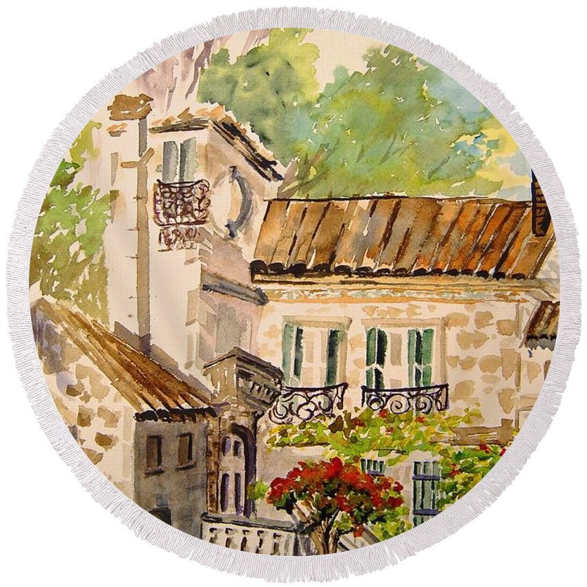 France Round Beach Towel featuring the painting En Plein Air At Moulin De La Roque France by Joanne Smoley