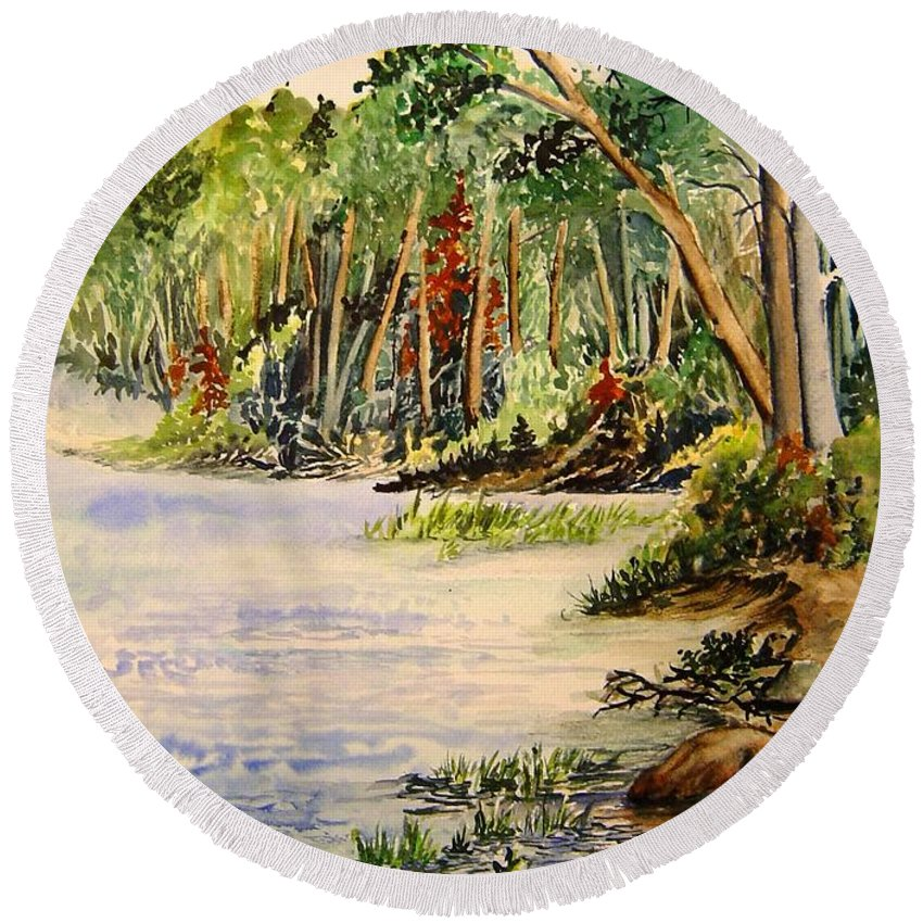 Otter Falls Manitoba Whiteshell Lake Landscape Round Beach Towel featuring the painting En Plein Air At Otter Falls Boat Launch by Joanne Smoley