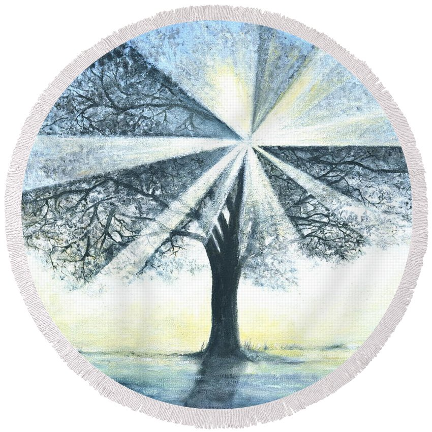 Bright Sun Paintings Round Beach Towel featuring the painting enchanced Tree Light by Penny Neimiller