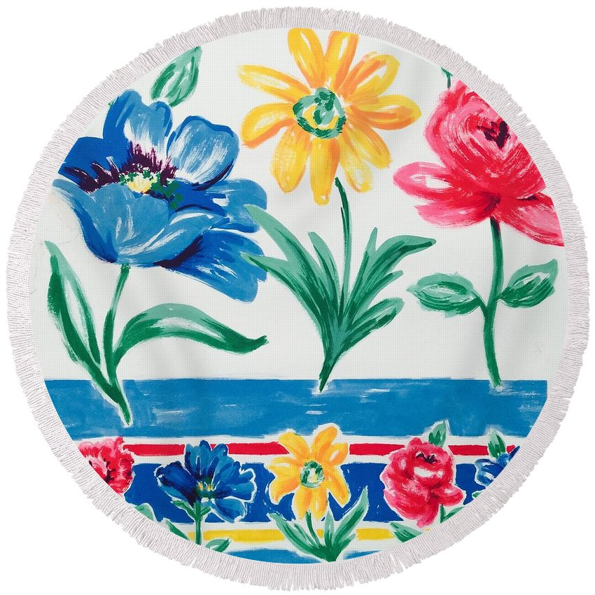 Round Beach Towel featuring the painting Enchanted Florals by Bruce Cohose
