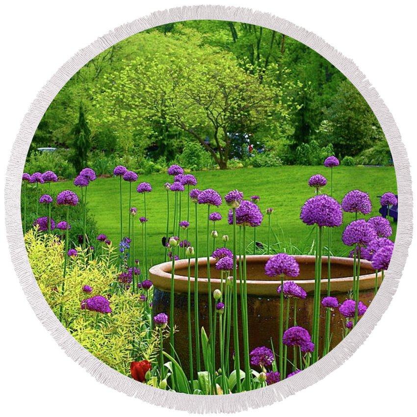 Garden Round Beach Towel featuring the photograph Enchanted Garden by Byron Varvarigos