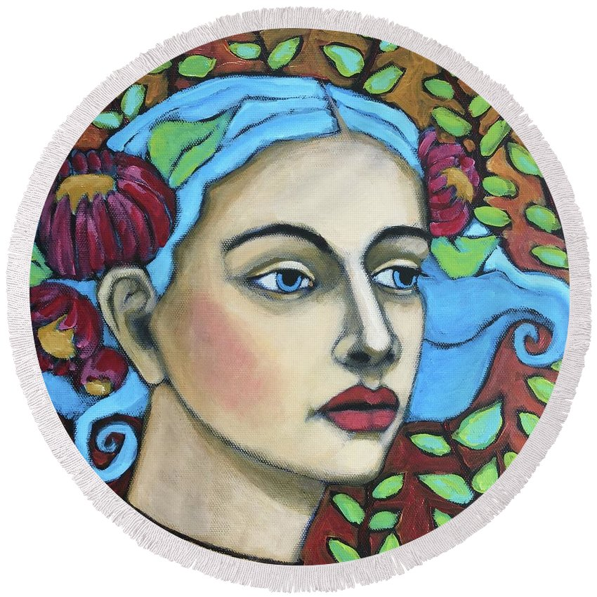 Portrait Round Beach Towel featuring the painting Enchanted by Jane Spakowsky