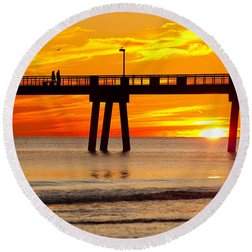 Fishing Pier Round Beach Towel featuring the photograph Enchanted by Janet Fikar