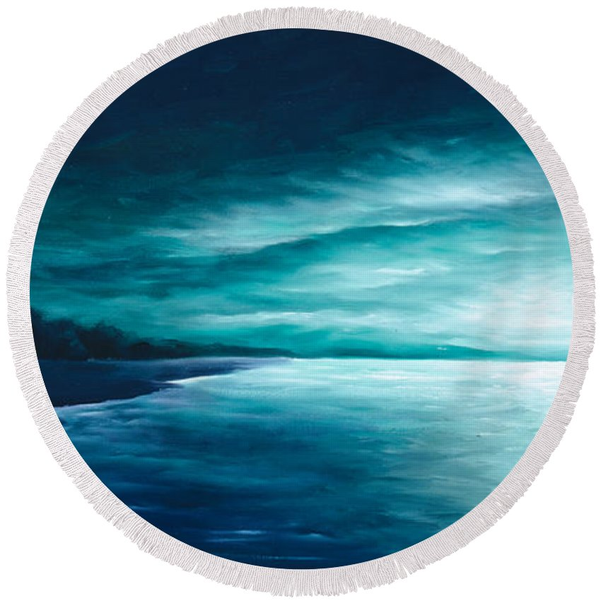 Moonscape Round Beach Towel featuring the painting Enchanted Moon I by James Christopher Hill
