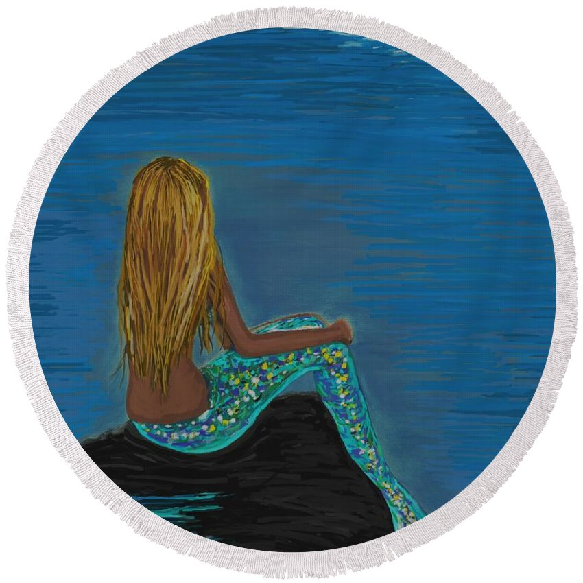 Mermaid Round Beach Towel featuring the painting Enchanted Moon by Leslie Allen