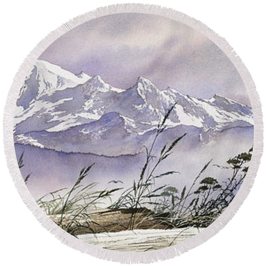 Landscape Fine Art Print Round Beach Towel featuring the painting Enchanted Mountain by James Williamson