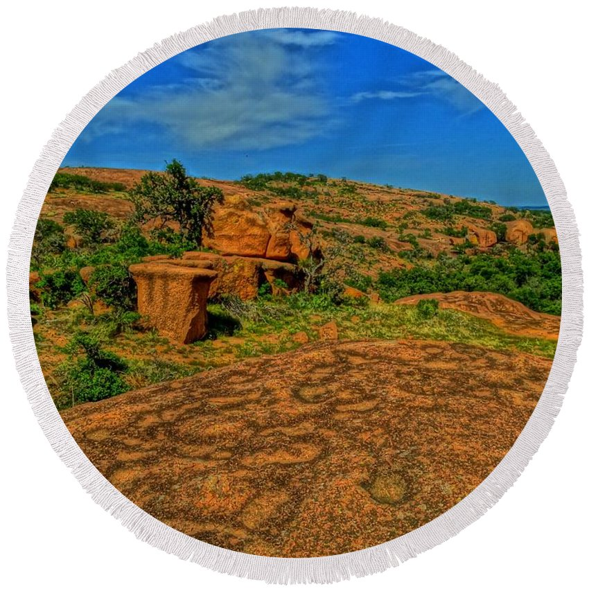 Texas Round Beach Towel featuring the photograph Enchanted Rock by Dennis Nelson