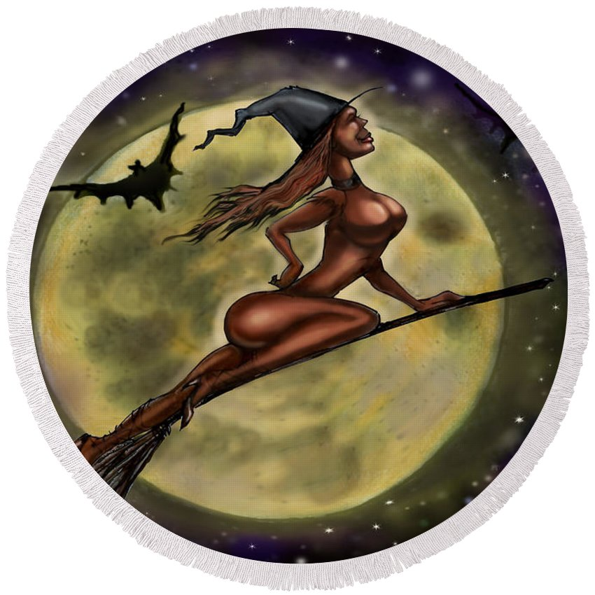 Halloween Round Beach Towel featuring the digital art Enchanting Halloween Witch by Kevin Middleton