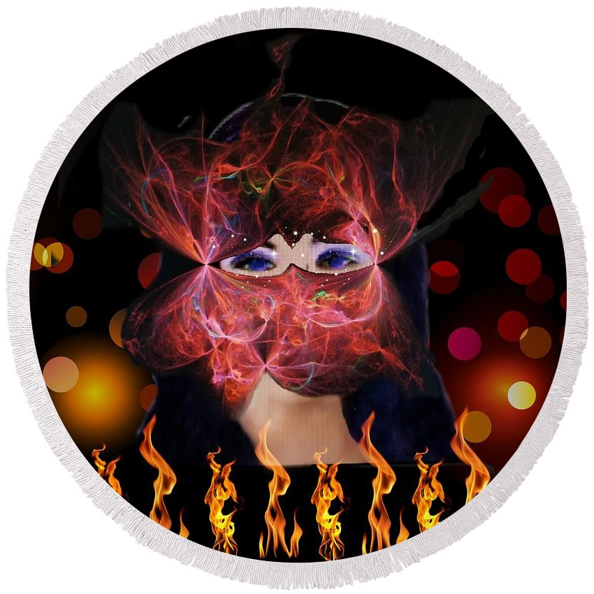 Fire Round Beach Towel featuring the digital art Enchantment by Diamante Lavendar