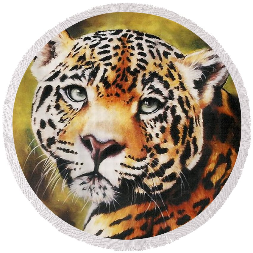 Jaguar Round Beach Towel featuring the pastel Enchantress by Barbara Keith