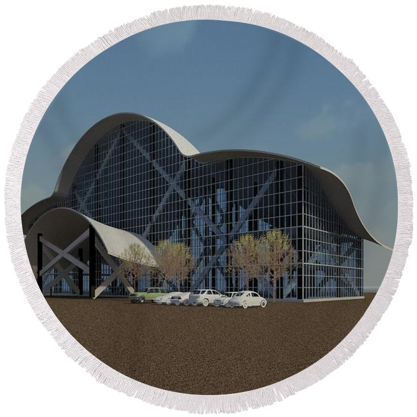 Building Rendering Round Beach Towel featuring the digital art Enclosure by Ron Bissett