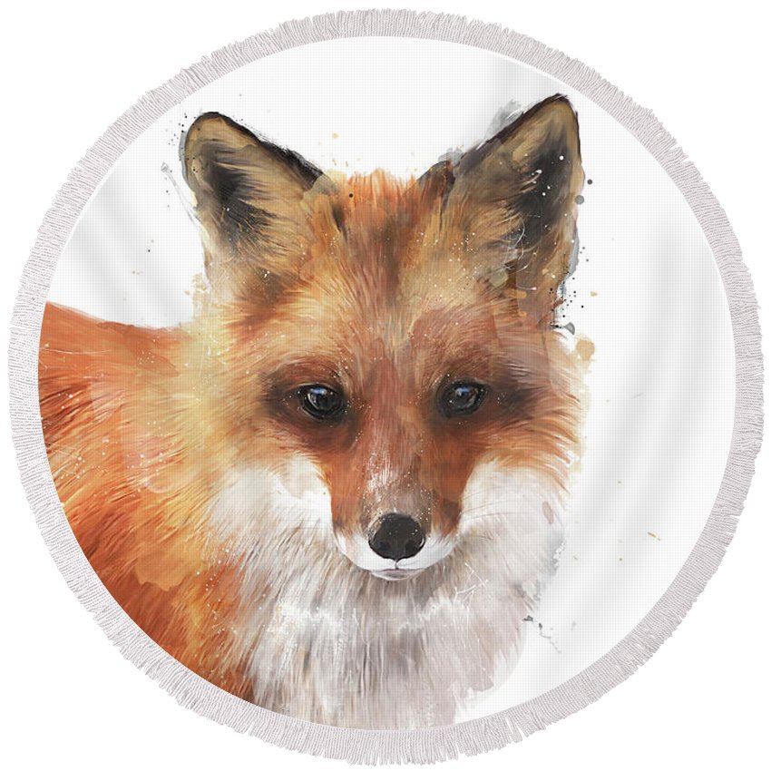 Fox Round Beach Towel featuring the painting Encounter by Amy Hamilton