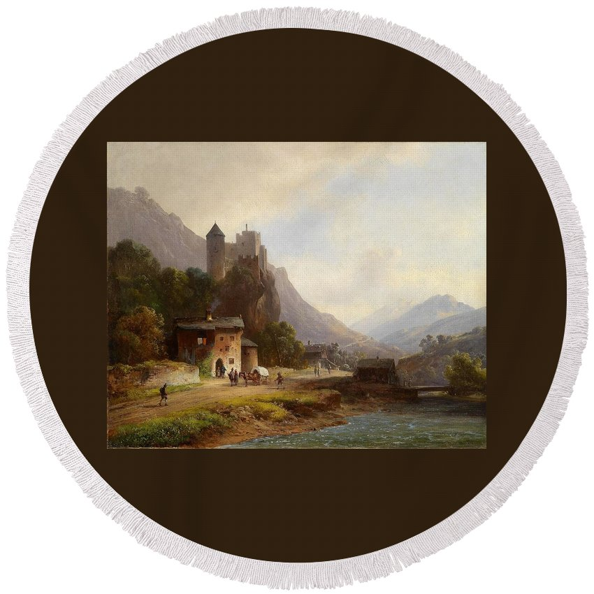 Anton Doll (1826�1887) Encounter In A Mountain Valley Beneath A Castle Round Beach Towel featuring the painting Encounter In A Mountain Valley by Anton Doll