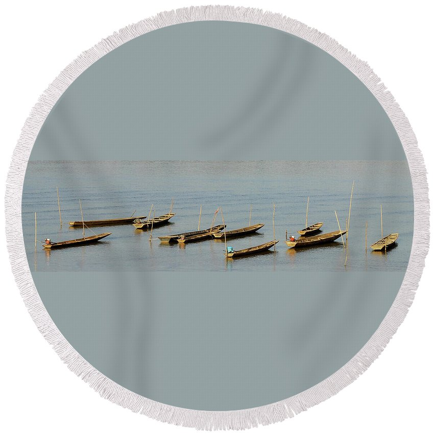 Blue Round Beach Towel featuring the photograph End Of A Days Fishing by Rodney Appleby