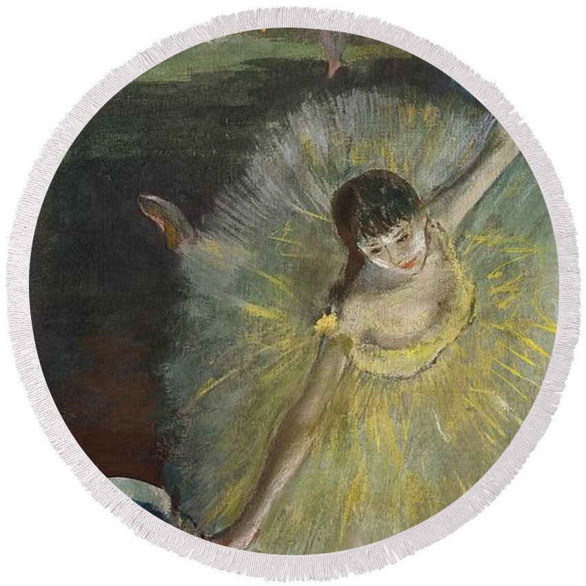 End Of An Arabesque Round Beach Towel featuring the pastel End Of An Arabesque by Edgar Degas