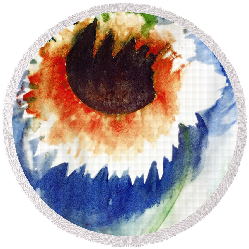 Dying Flower Round Beach Towel featuring the painting End Of Life Release by Kate Hopson