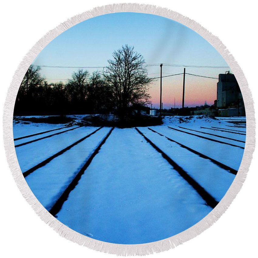 Sunset Round Beach Towel featuring the photograph End Of The Tracks by Angus Hooper Iii