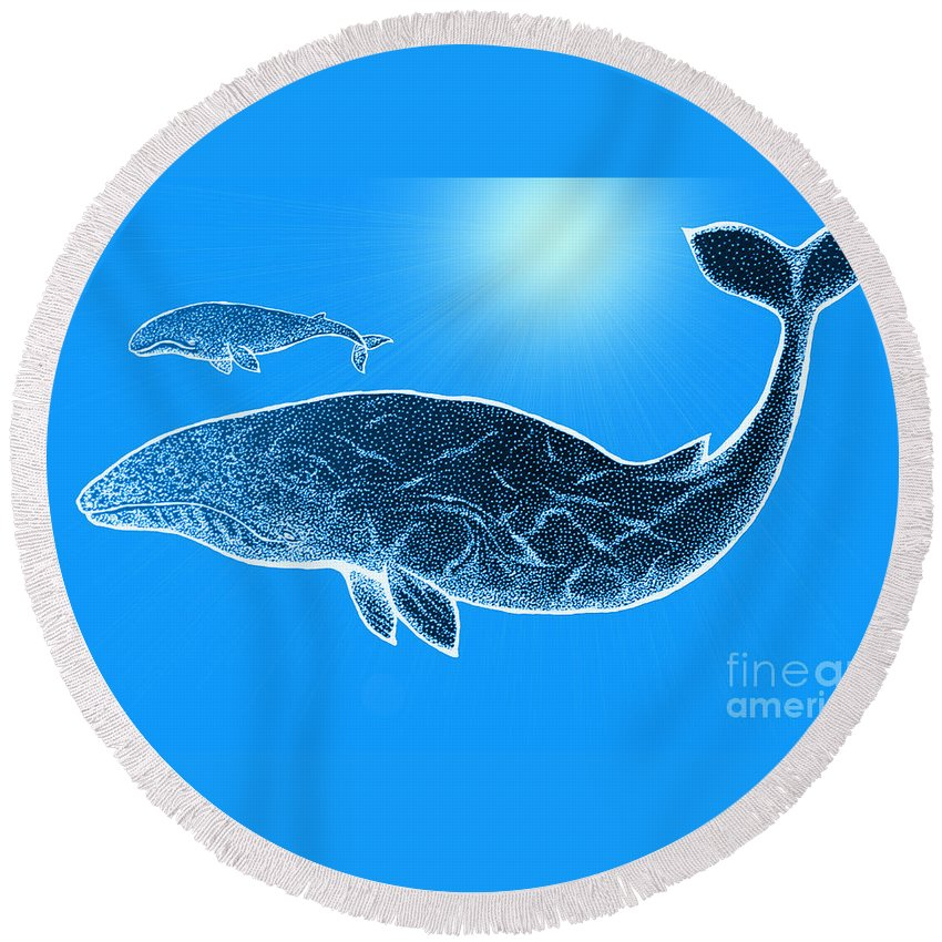 Whale Round Beach Towel featuring the mixed media Endangered Gray Whales by Nick Gustafson