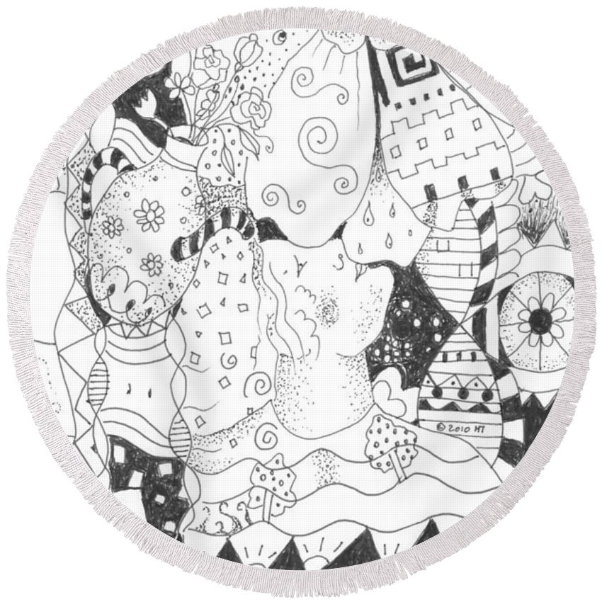 Blessings Round Beach Towel featuring the drawing Endless Blessings by Helena Tiainen