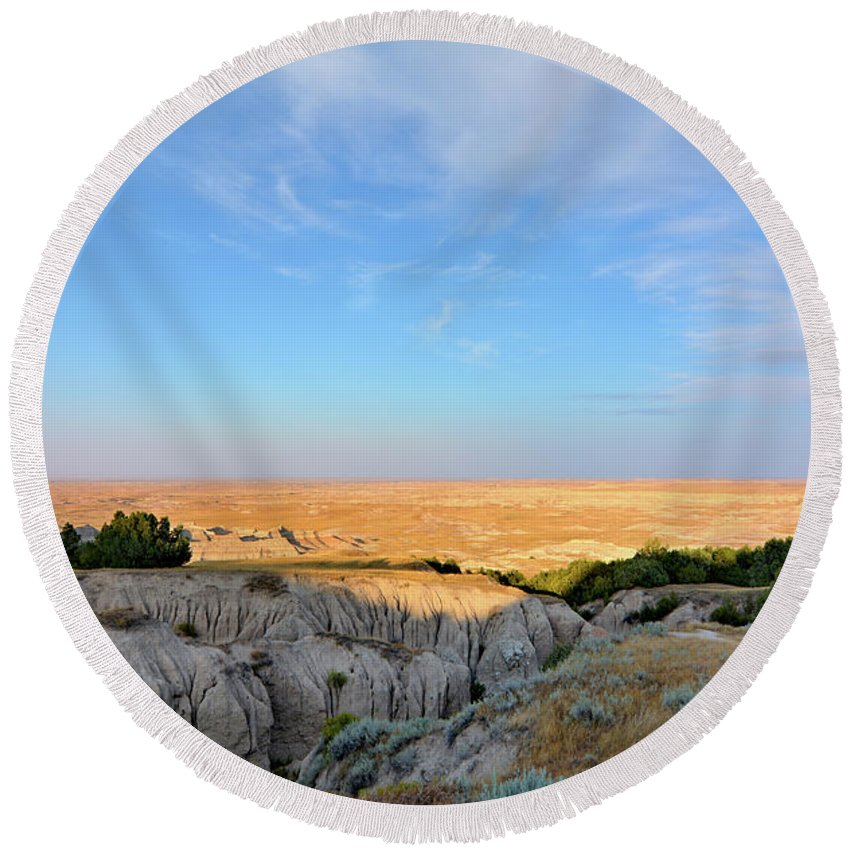 Badlands Round Beach Towel featuring the photograph Endless by Bonfire Photography